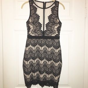 Black and tan lace dress sz medium